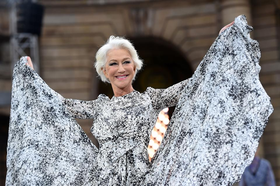 British actress Helen Mirren presents a creation for L'Oreal during the Women's Spring-Summer 2020 Ready-to-Wear collection fashion show at the Monnaie de Paris, in Paris on September 28, 2019. (Photo by Lucas BARIOULET / AFP)        (Photo credit should read LUCAS BARIOULET/AFP/Getty Images)