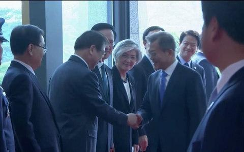 <span>South Korean President Moon Jae-in arrives for the inter-Korean summit at the truce village of Panmunjom, in this still frame taken from video</span> <span>Credit: Reuters </span>