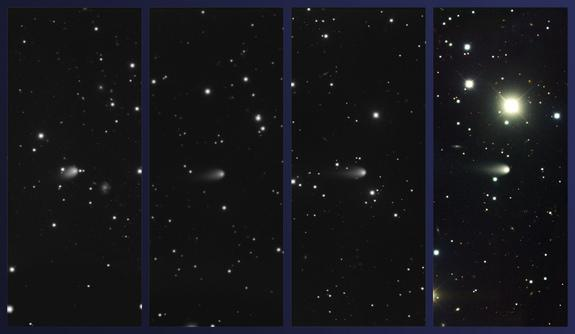 Images of Comet ISON obtained using the Gemini Multi-Object Spectrograph at Gemini North on February 4, March 4, April 3, and May 4, 2013 (left to right, respectively; Comet ISON at center in all images).