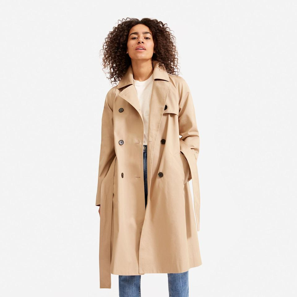 """<p><strong>Everlane</strong></p><p>everlane.com</p><p><a href=""""https://go.redirectingat.com?id=74968X1596630&url=https%3A%2F%2Fwww.everlane.com%2Fproducts%2Fwomens-modern-trench-coat-khaki&sref=https%3A%2F%2Fwww.harpersbazaar.com%2Ffashion%2Ftrends%2Fg37038622%2Feverlane-summer-sale-best-items%2F"""" rel=""""nofollow noopener"""" target=""""_blank"""" data-ylk=""""slk:Shop Now"""" class=""""link rapid-noclick-resp"""">Shop Now</a></p><p><strong><del>$148</del> $74</strong></p><p>You don't have to sacrifice style for practicality with this wear-everywhere jacket. Everlane's update to the classic trench includes a slightly oversized fit and weather-resistant fabric. </p>"""