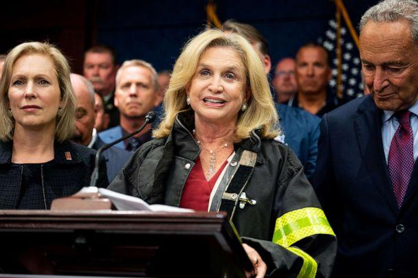 PHOTO: Representative Carolyn Maloney (D-NY) speaking at the press conference held after the passage of H.R.1327 at the Capitol, July 23, 2019. (Michael Brochstein/SOPA Images/LightRocket via Getty Images )