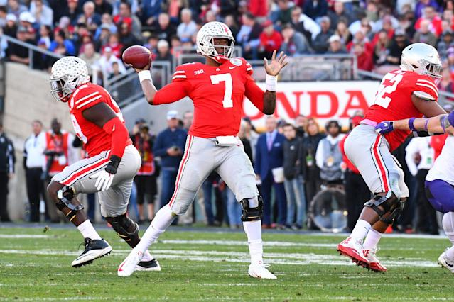 "<a class=""link rapid-noclick-resp"" href=""/ncaaf/players/271419/"" data-ylk=""slk:Dwayne Haskins"">Dwayne Haskins</a> threw for over 4,800 yards in 2018 and rushed for just over 100. (Photo by Brian Rothmuller/Icon Sportswire via Getty Images)"