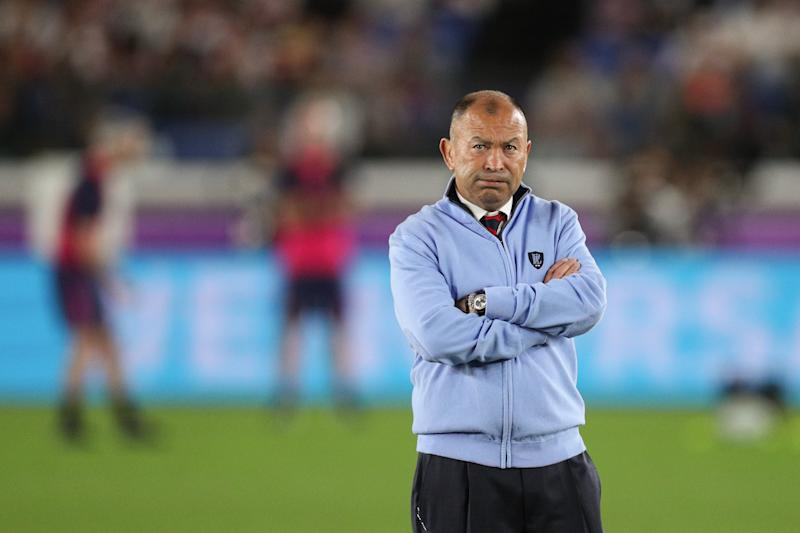 YOKOHAMA, JAPAN - NOVEMBER 02: England Head Coach Eddie Jones looks on during the pre match warm up ahead of the Rugby World Cup 2019 Final between England and South Africa at International Stadium Yokohama on November 2, 2019 in Yokohama, Kanagawa, Japan. (Photo by Craig Mercer/MB Media/Getty Images )