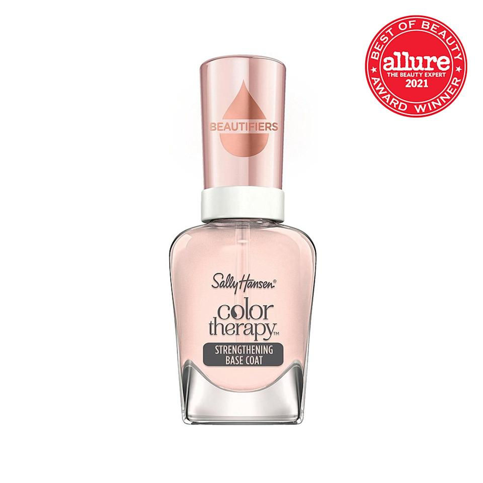 <strong>Sally Hansen Color Therapy Beautifiers Strengthening Base Coat</strong> imparts a protective barrier and the rosy glow of a vigorous buffing, making polish a bonus — not a necessity.