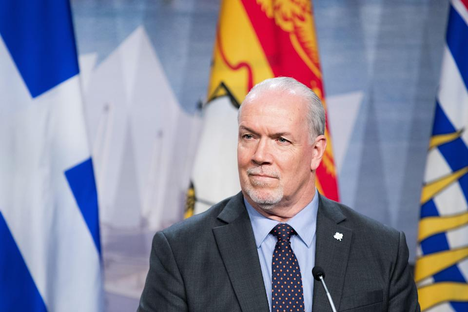 British Columbia's premier John Horgan looks on as prime ministers of the Canadian provinces gather during a meeting set-up by Canada prime minister Justin Trudeau in Montreal, on December 7, 2018 at the Marriott Chateau Champlain. (Photo by MARTIN OUELLET-DIOTTE / AFP) (Photo credit should read MARTIN OUELLET-DIOTTE/AFP via Getty Images)