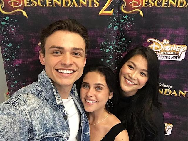 <p>With some of the cast seeing the movie for the FIRST TIME. Look who I found: @brennadamico @dianneldoan!! — @thomasadoherty #descendants2<br><br>(Photo: Thomas Doherty via Instagram) </p>