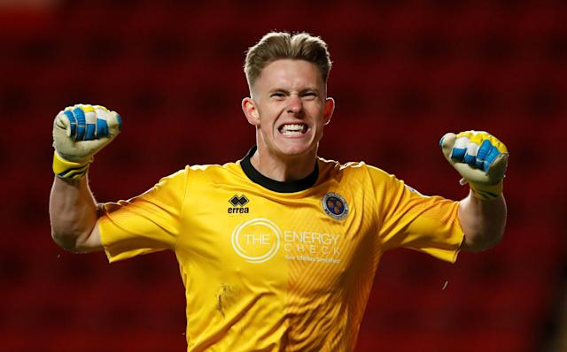 "Soccer Football - League One Play Off Semi Final First Leg - Charlton Athletic vs Shrewsbury Town - The Valley, London, Britain - May 10, 2018 Shrewsbury Town's Dean Henderson celebrates their first goal Action Images/Peter Cziborra EDITORIAL USE ONLY. No use with unauthorized audio, video, data, fixture lists, club/league logos or ""live"" services. Online in-match use limited to 75 images, no video emulation. No use in betting, games or single club/league/player publications. Please contact your account representative for further details."