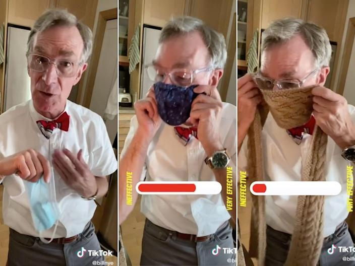 Bill Nye showed how a homemade face mask is a more protective face covering than a knit scarf.