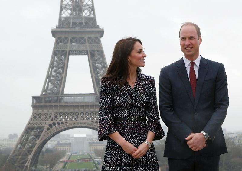 Britain's Prince William and his wife Kate were making their first official visit to Paris, where his mother Diana died in a car crash 20 years ago (AFP Photo/Michel Euler)