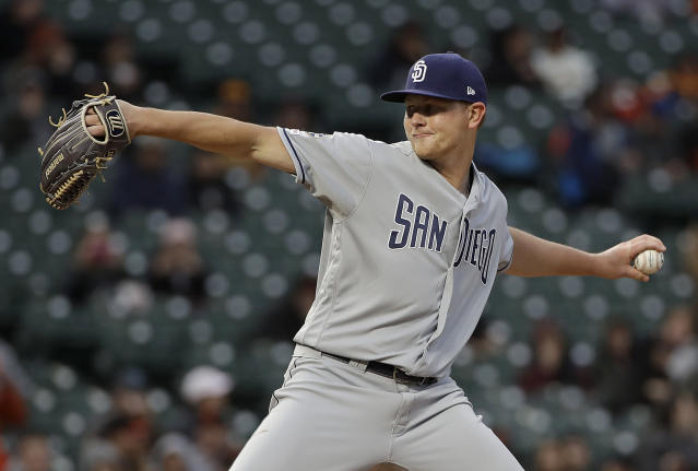 San Diego Padres pitcher Eric Lauer throws against the San Francisco Giants during the first inning of a baseball game in San Francisco, Monday, April 8, 2019. (AP Photo/Jeff Chiu)