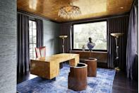 <p>In this striking home office designed by Dennis Brackeen, walls are clad in Phillip Jeffries Extra Fine Arrowroot grasscloth in the denim colorway, an interesting foil for the shiny, metallic gold ceiling. </p>