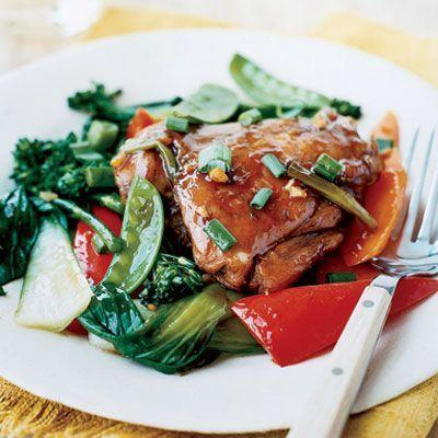 """<p>Slow cooking this Asian-inspired chicken means that it's juicy and tender enough to fall clean off the bone. It also means that your stir-fried veggies will absorb the sweet-and-sour glaze.</p><p><em><a href=""""https://www.goodhousekeeping.com/food-recipes/a6904/red-cooked-chicken-vegetables-slow-cooker-ghk0907/"""" rel=""""nofollow noopener"""" target=""""_blank"""" data-ylk=""""slk:Get the recipe for Red-Cooked Chicken with Stir-fry Vegetables, Slow Cooker-Style »"""" class=""""link rapid-noclick-resp"""">Get the recipe for Red-Cooked Chicken with Stir-fry Vegetables, Slow Cooker-Style »</a></em></p>"""