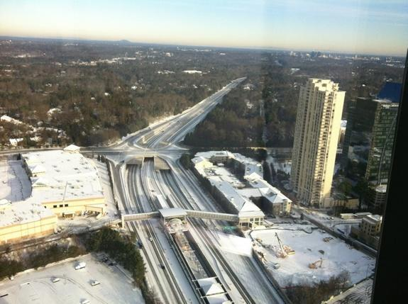 Highway 400 in Atlanta, Ga., is empty Wednesday morning after businesses and schools closed on Tuesday (Jan. 29) because of a winter storm.
