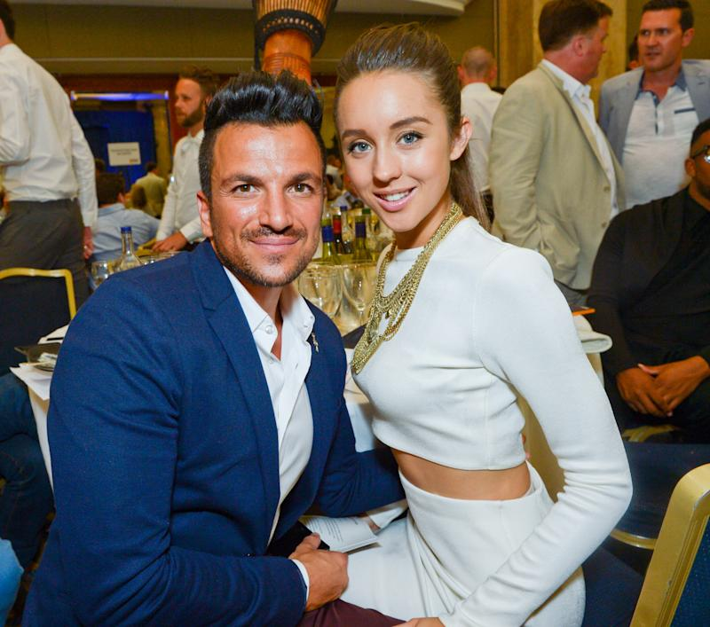 Peter Andre and fiancée Emily MacDonagh during the Nordoff Robbins O2 Silver Clef Awards 2014 at the Hilton Hotel in London on Friday, July 4, 2014. (Photo by Jon Furniss/Invision/AP)