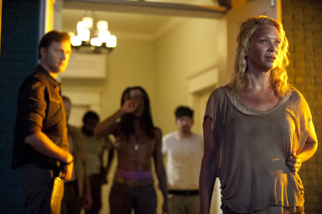 "The Governor (David Morrissey), Michonne (Danai Gurira) and Andrea (Laurie Holden) in ""The Walking Dead"" episode, ""Walk With Me."""