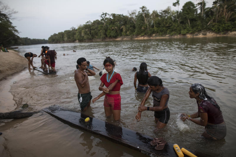 In this Sept. 3, 2019 photo, members of the Tembé indigenous tribe bathe at the the Gurupi river in the Tekohaw indigenous reserve, Para state, Brazil. The members of nine indigenous Tembé tribes of Brazil met to discuss a forest management plan by an association that included technology to curb loggers illegally encroaching on indigenous Tembé land in exchange for the creation of a ring to extract wood, bananas and the oily purple berry of the açaí palm tree that is a staple of native Amazon cuisine and a global superfood. (AP Photo/Rodrigo Abd)