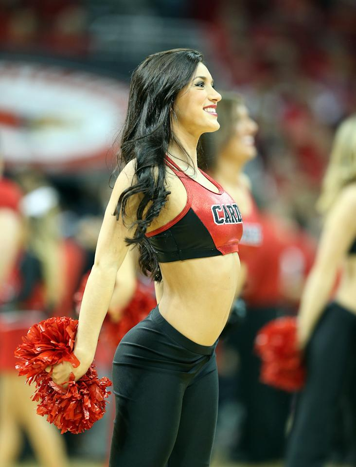 LOUISVILLE, KY - MARCH 09:  A Louisville Cardinals cheerleader performs during the game against the Notre Dame Fighting Irish at KFC YUM! Center on March 9, 2013 in Louisville, Kentucky.  (Photo by Andy Lyons/Getty Images)