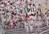 <p>It looks like the Italian flag ate a Pac Man and then threw up all over their outfits</p>
