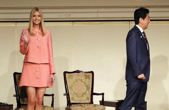 Ivanka Trump's short skirt in Japan wasn't a style hit. (Photo: AP Images)