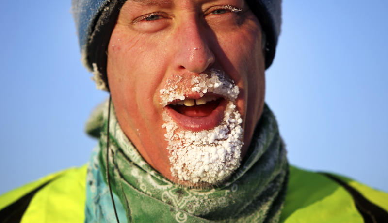 Craig Shankwitz's beard froze while on a jog around Lake Calhoun in Minneapolis, Minn., Saturday, Dec. 7, 2013. Forecasters say Saturday will be very cold in Minnesota, with highs only making it to 5 to 10 degrees below zero in the north to around 5 degrees above zero in the far southeast. (AP Photo/The Star Tribune, David Joles) MANDATORY CREDIT; ST. PAUL PIONEER PRESS OUT; MAGS OUT; TWIN CITIES TV OUT