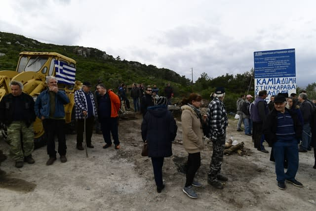 Residents protest in Karava on the island of Lesbos