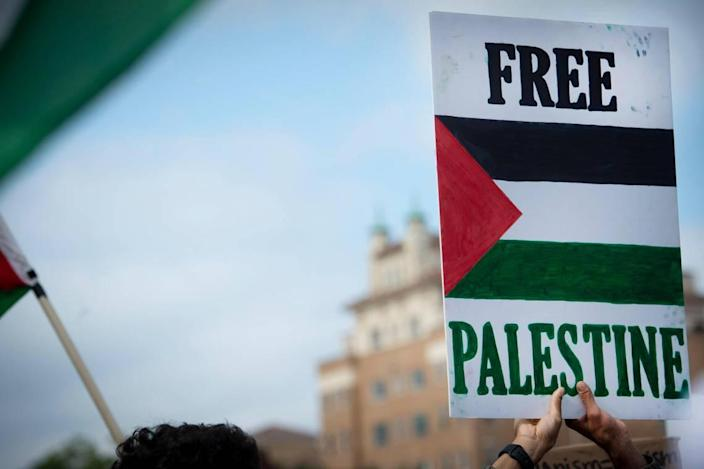 Pro-Palestinian supporters gathered Saturday, May 15, on the Country Club Plaza for KC Rally to show support for Palestinian human rights and to condemn violence against Palestinians in Gaza and the Middle East.