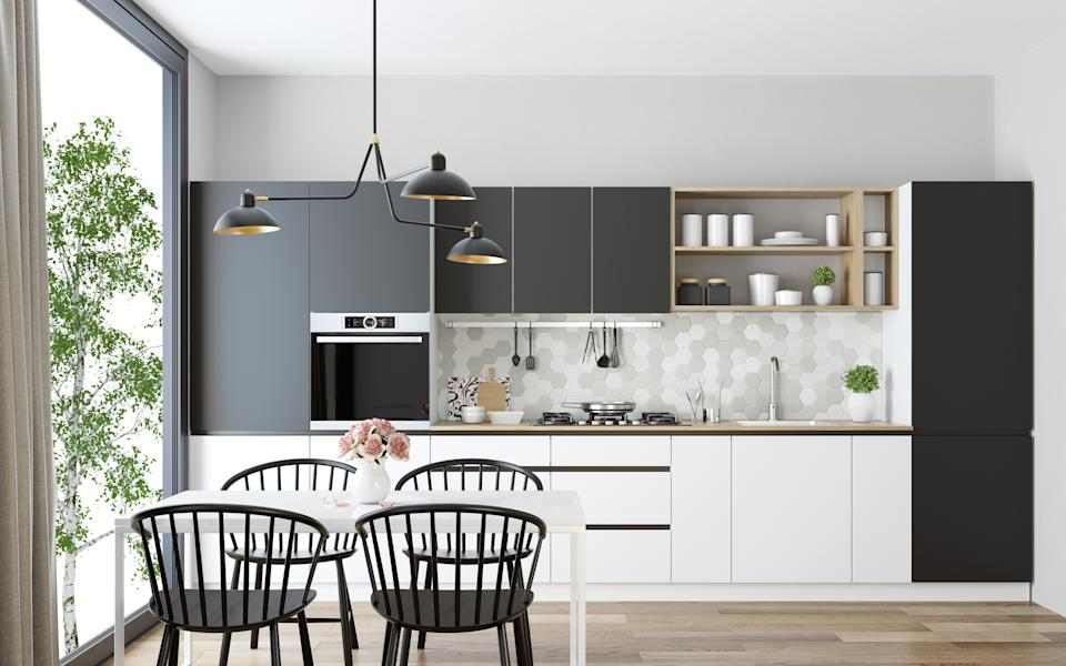 "<h1 class=""title"">Small Kitchen Ideas and Designs: Modern Scandinavian kitchen and dining room</h1> <cite class=""credit"">tulcarion</cite>"
