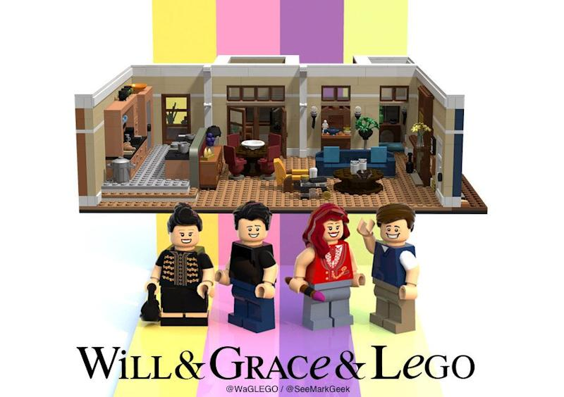 "Designer Mark Fitzpatrick has proposed a Lego set based on ""Will & Grace,"" featuring the four principal characters in miniature. (Photo: Mark Fitzpatrick)"