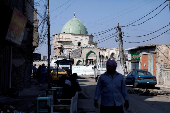 The damaged Al-Nouri mosque, where Abu Bakr al-Baghdadi declared his caliphate back in 2014, in the old city of Mosul, Iraq. (Photo: Abdullah Rashid/Reuters)