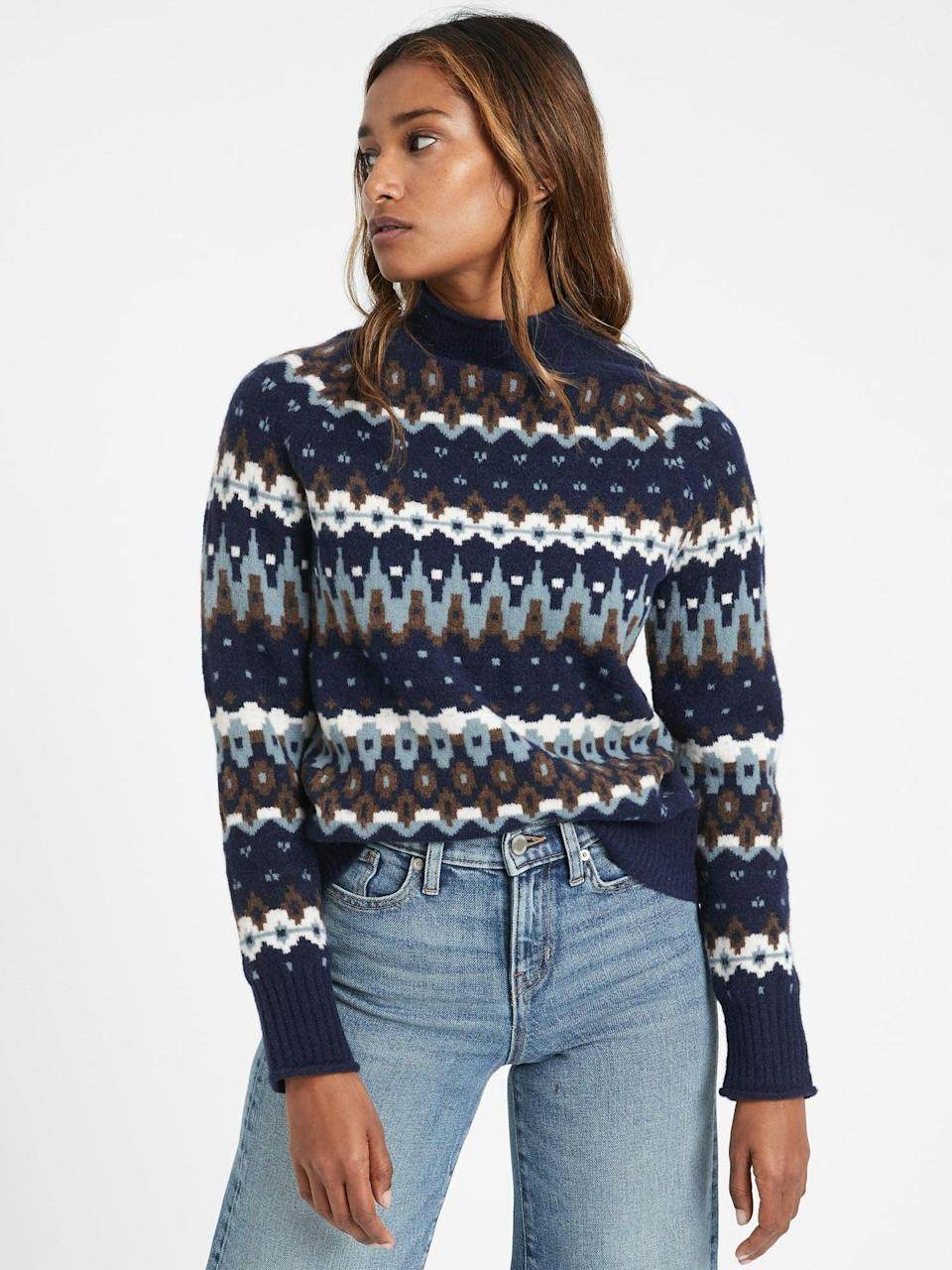 <p>This <span>Fair Isle Mock-Neck Sweater</span> ($33, originally $110) is perfect for road trips.</p>