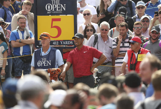 Tiger Woods in red and black, once again. (AP)