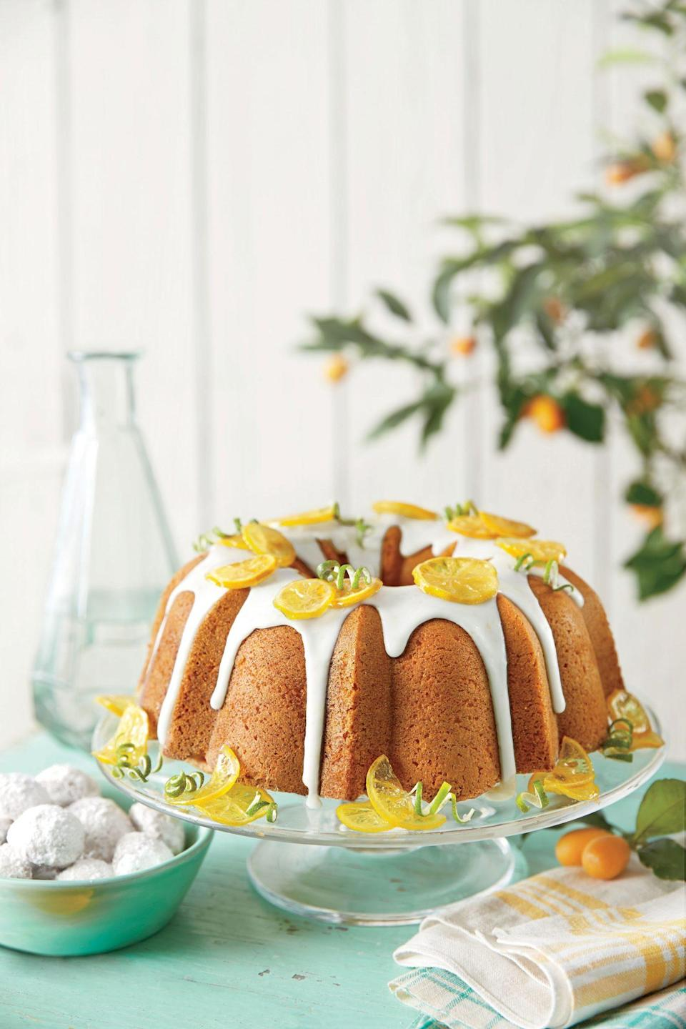 """<p><strong>Recipe: </strong><a href=""""https://www.southernliving.com/syndication/lemon-lime-pound-cake-0"""" rel=""""nofollow noopener"""" target=""""_blank"""" data-ylk=""""slk:Lemon-Lime Pound Cake"""" class=""""link rapid-noclick-resp""""><strong>Lemon-Lime Pound Cake</strong></a></p> <p> """"There's nothing like the scent of a pound cake cooling on the counter in the middle of summer. Our Lemon-Lime version is a riff on the 7UP pound cakes I remember from my childhood—complete with that subtle citrus flavor that somehow kicks the heavyweight of desserts into refreshing territory. Oh, and it makes one of the prettiest batters I've ever set eyes on. You'll be tempted to lick the bowl clean before the Bundt even makes it to the oven. I serve it both with the glaze and without, depending on how much time I have on my hands."""" Patricia Shannon, Senior Editor</p>"""
