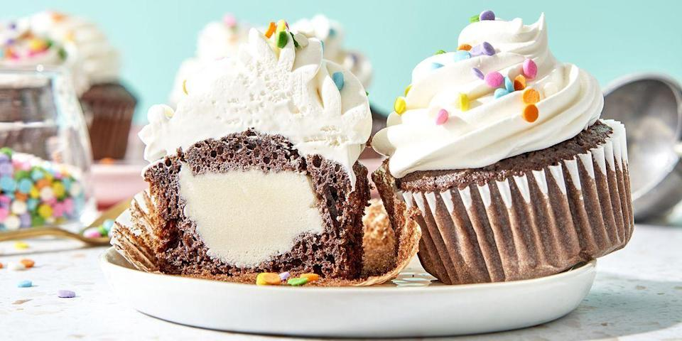 """<p>These cupcakes take a little while to make (mostly because they need to freeze), but once they're ready to go, you'll be delighted. </p><p><strong><a href=""""https://www.delish.com/cooking/recipe-ideas/a20065535/ice-cream-stuffed-cupcakes-recipe/"""" rel=""""nofollow noopener"""" target=""""_blank"""" data-ylk=""""slk:Get the recipe at Delish."""" class=""""link rapid-noclick-resp"""">Get the recipe at Delish.</a></strong></p>"""