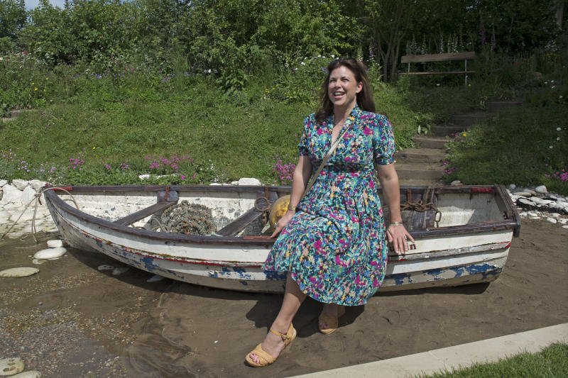 Kirstie Allsopp visits the Welcome to Yorkshire Garden during the press preview of the RHS Chelsea Flower Show at the Royal Hospital Chelsea, London.