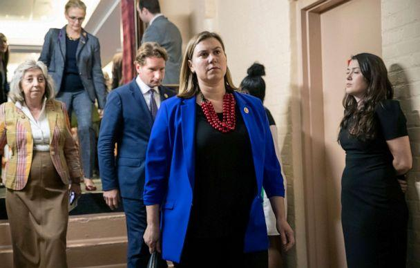 PHOTO: Rep. Elissa Slotkin, D-Mich., leaves a House Democratic Caucus meeting with Speaker of the House Nancy Pelosi, D-Calif. at the Capitol, Sept. 24, 2019. (J. Scott Applewhite/AP)