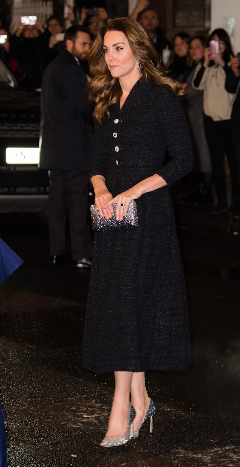 """LONDON, ENGLAND - FEBRUARY 25: Catherine, Duchess of Cambridge attends a charity performance of """"Dear Evan Hansen"""" in aid of The Royal Foundation at Noel Coward Theatre on February 25, 2020 in London, England. (Photo by Samir Hussein/WireImage)"""