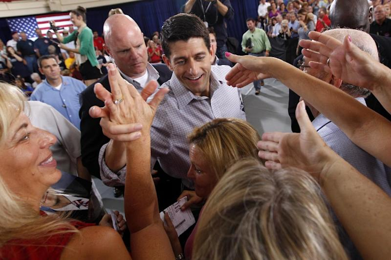 Republican vice presidential candidate, Rep. Paul Ryan, R-Wis. greets supporters during a campaign event at the Westlake Recreation Center, Tuesday, Sept. 4, 2012, in Westlake, Ohio. (AP Photo/Mary Altaffer)