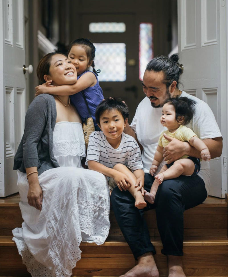 Adam Liaw, his wife Asami Fujitsuka and their three children: Anne, Christopher and Benji.