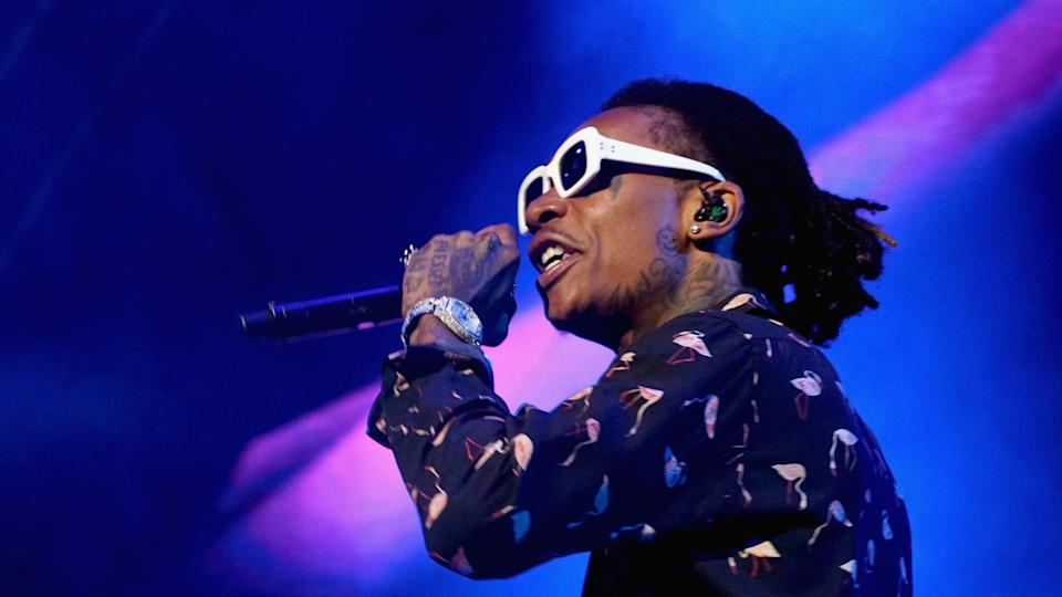 LOS ANGELES, CA - JUNE 22:  Recording artist Wiz Khalifa performs onstage at night one of the 2017 BET Experience STAPLES Center Concert, sponsored by Hulu, at Staples Center on June 22, 2017 in Los Angeles, California.