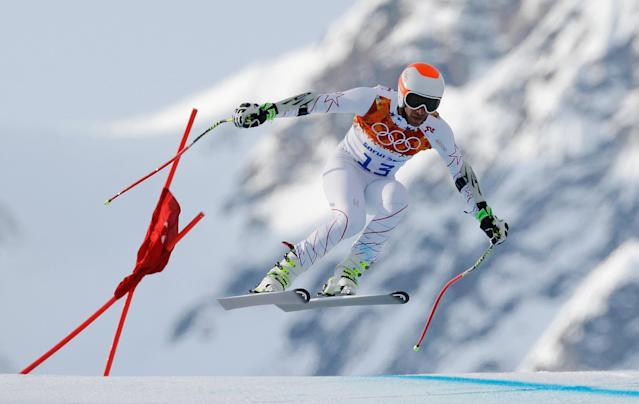 SOCHI, RUSSIA - FEBRUARY 16: Bode Miller of the United States skis during the Alpine Skiing Men's Super-G on day 9 of the Sochi 2014 Winter Olympics at Rosa Khutor Alpine Center on February 16, 2014 in Sochi, Russia. (Photo by Ezra Shaw/Getty Images)