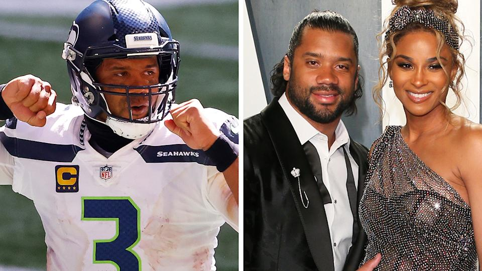 Russell Wilson is pictured with his wife Ciara.