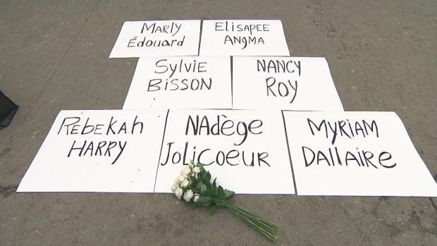 The seven women who died were honoured at the event and their names were displayed to raise awareness about the effect of domestic violence. (CBC - image credit)