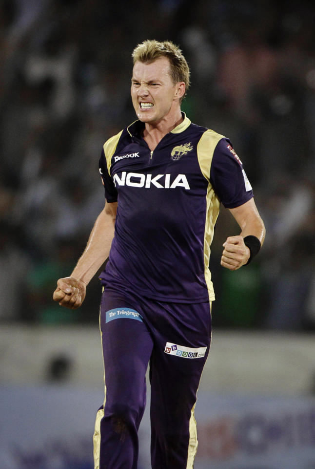 In this photo taken on Monday, Sept. 19, 2011, Kolkata Knight Riders bowler Brett Lee celebrates after winning the match during the Champions League Twenty20 cricket qualifying match between Auckland and Kolkata Knight Riders in Hyderabad, India. (AP Photo/Mahesh Kumar A.)