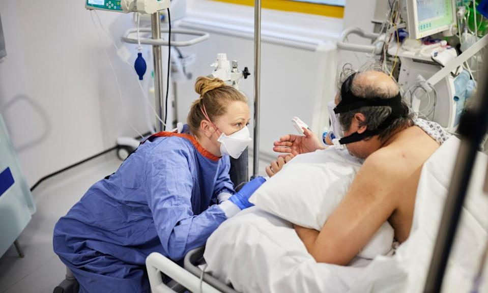 Sharan, with Cpap mask on, receiving care at Milton Keynes University hospital