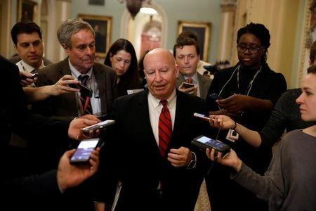 House Ways and Means Committee Chairman Kevin Brady (R-TX) speaks with the media as he arrives for the Republican policy luncheon on Capitol Hill in Washington, D.C., U.S., March 14, 2017. REUTERS/Aaron P. Bernstein