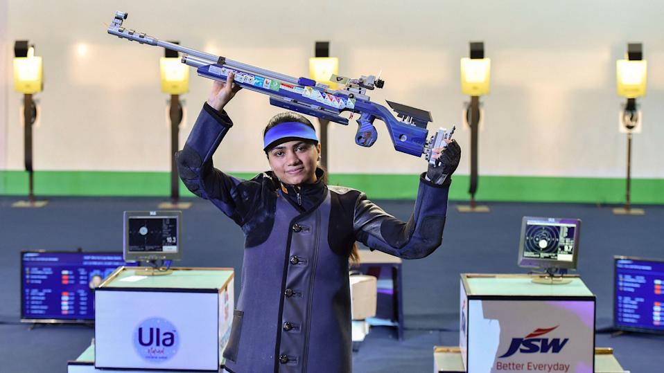 """<div class=""""paragraphs""""><p>File: Indian shooter Chandela shattered the world record on her way to the women's 10m air rifle <a href=""""https://www.thequint.com/sports/olympic-sports/apurvi-chandela-shooting-world-cup-gold-medal-10m-air-rifle-world-record-new-delhi#gs.6YpPpKf0"""" rel=""""nofollow noopener"""" target=""""_blank"""" data-ylk=""""slk:gold"""" class=""""link rapid-noclick-resp"""">gold</a> with an incredible sequence of scores in the ISSF World Cup.</p></div>"""