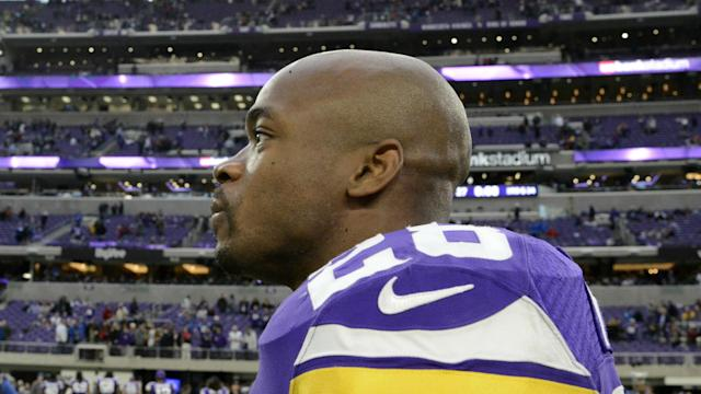 Adrian Peterson took to Twitter apparently to deny an ESPN report that said he remains a free agent team because of his steep price tag.