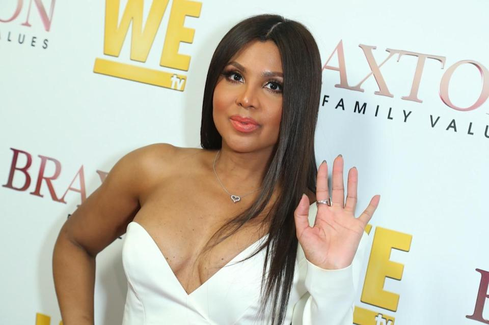 "WEST HOLLYWOOD, CALIFORNIA - APRIL 02: Toni Braxton attends WE tv's ""Braxton Family Values"" Season 6 Premiere at The Doheny Room on April 02, 2019 in West Hollywood, California. (Photo by Leon Bennett/Getty Images)"