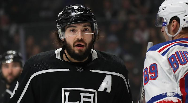 Drew Doughty shared his stance on fighting after a mid-game tilt helped propel Los Angeles to a win on Thursday night. (Photo by Bruce Bennett/Getty Images)