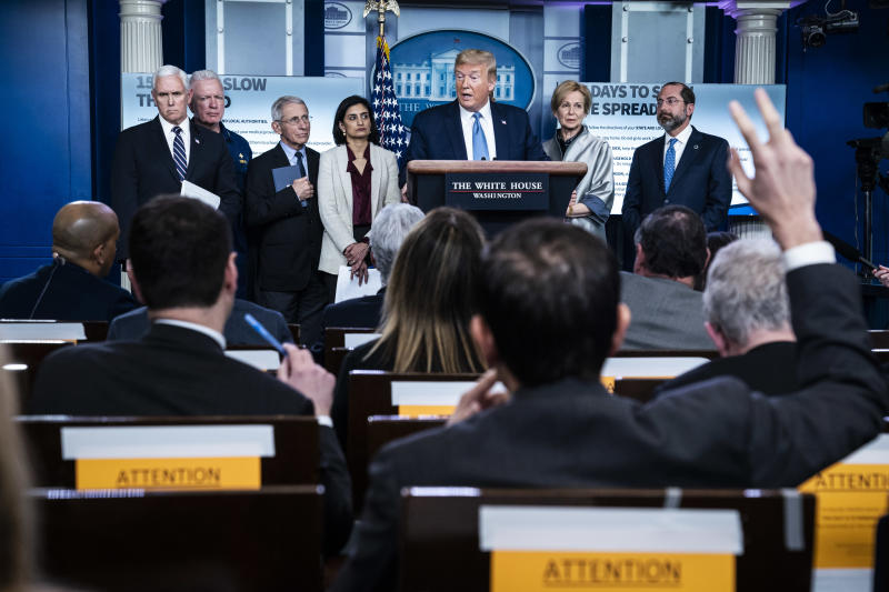 WASHINGTON, DC - MARCH 16 : President Donald J. Trump announces the outbreak could last months and gatherings should be limited to 10 people with his coronavirus task force in response to the COVID-19 coronavirus pandemic during a briefing in the James S. Brady Press Briefing Room at the White House on Monday, March 16, 2020 in Washington, DC. (Photo by Jabin Botsford/The Washington Post via Getty Images)